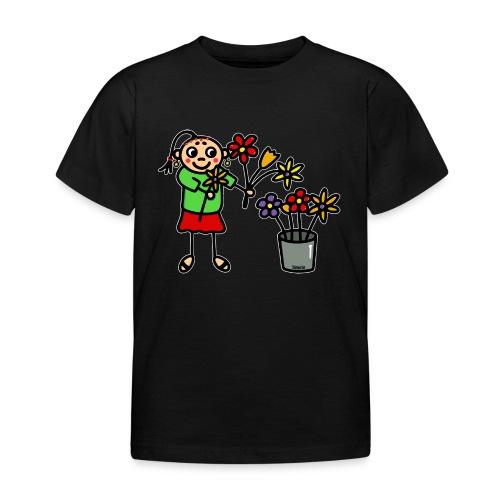 Blumenmädchen - weiße Kontur - Kinder T-Shirt