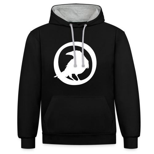 Crowfall Emblem Pullover Hoodie BLACK/GREY - Contrast Colour Hoodie
