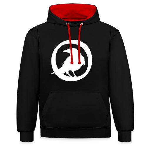 Crowfall Emblem Pullover Hoodie BLACK/RED - Kontrast-Hoodie
