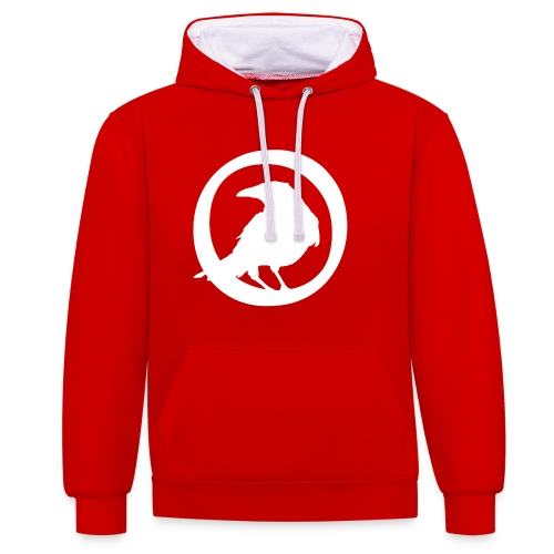 Crowfall Emblem Pullover Hoodie RED/WHITE - Contrast Colour Hoodie