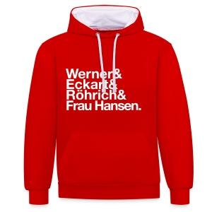 Werner & Eckart Hoody rot - Kontrast-Hoodie