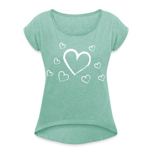 türkises Herzchenshirt mit weißen Herzen - Frauen T-Shirt mit gerollten Ärmeln