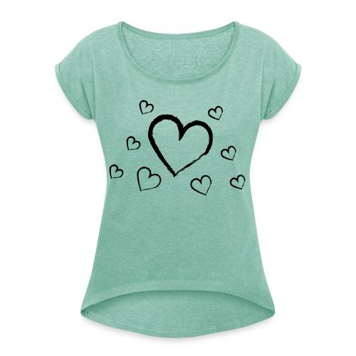 türkises Herzchenshirt mit schwarzen Herzen - Frauen T-Shirt mit gerollten Ärmeln