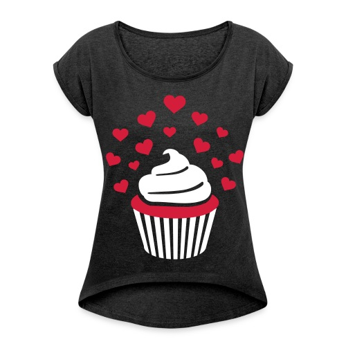 cupcakeshirt braun - Frauen T-Shirt mit gerollten Ärmeln