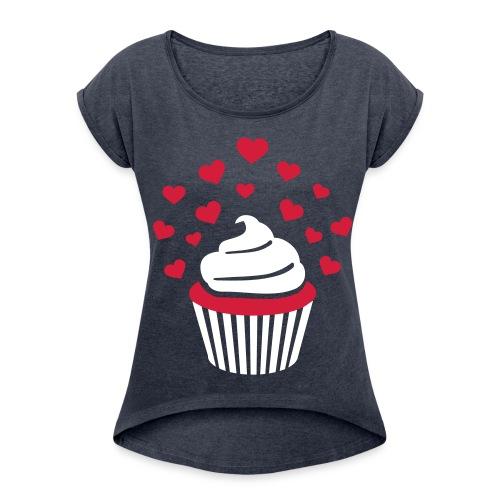 cupcakeshirt grau  - Frauen T-Shirt mit gerollten Ärmeln