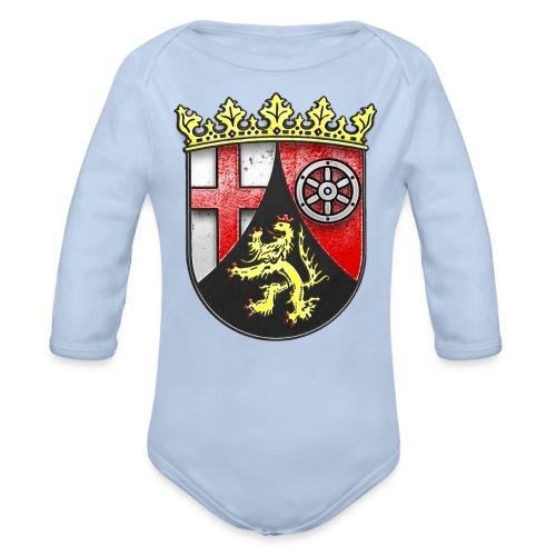 Rheinland Pfalz Wappen in Stein gemeißelt - Baby Bio-Langarm-Body