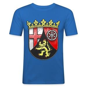 Rheinland Pfalz Wappen in Stein gemeißelt - Männer Slim Fit T-Shirt