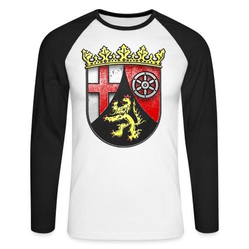 Rheinland Pfalz Wappen in Stein gemeißelt - Männer Baseballshirt langarm