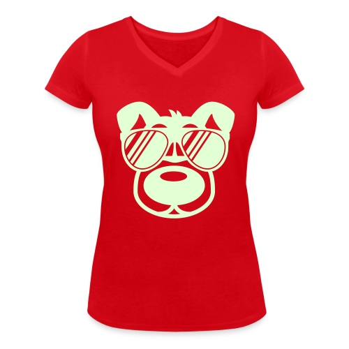 T-Shirt rot - Frauen Bio-T-Shirt mit V-Ausschnitt von Stanley & Stella