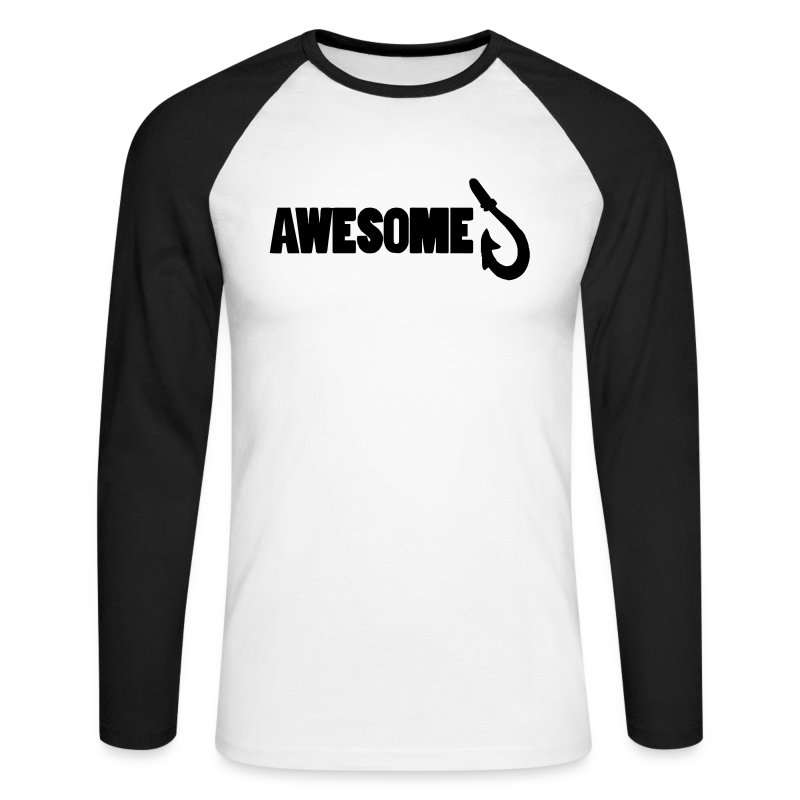 Men's Long sleeve Baseball shirt with Awesome Logo - Men's Long Sleeve Baseball T-Shirt
