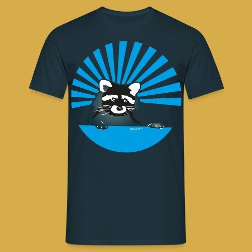 Herren Shirt mit Waschbär Motiv in Blau - Männer T-Shirt