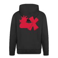 Pullover & Hoodies ~ Männer Premium Kapuzenjacke ~ Hoodie, Punkerente mit X, rot, hinten