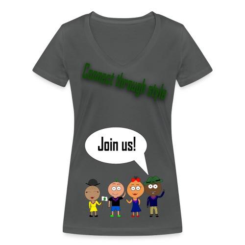 JOIN US - Gray V-neck F - Økologisk Stanley & Stella T-shirt med V-udskæring til damer