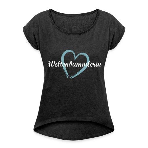 T-Shirt mit gerollten Ärmeln Weltenbummlerin London - Frauen T-Shirt mit gerollten Ärmeln