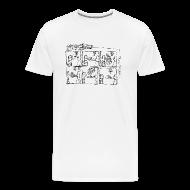 T-Shirts ~ Men's Premium T-Shirt ~ Continuous Line Cartoon T-Shirt by Sam Backhouse
