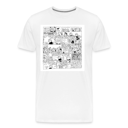 Evil Olive Homework Cartoon T-Shirt by Sam Backhouse - Men's Premium T-Shirt