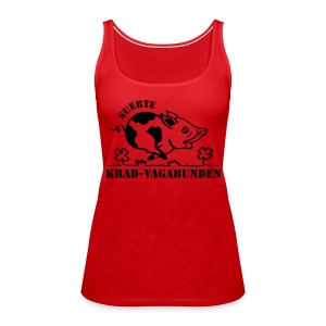 female - lucky pig - black print - Women's Premium Tank Top