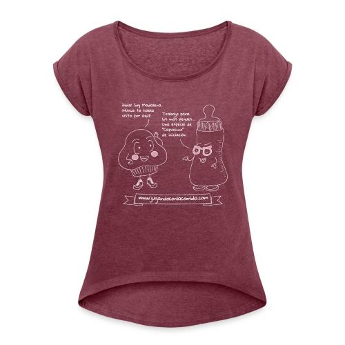 Jugando con la Comida: Biberón - Camiseta con manga enrollada mujer