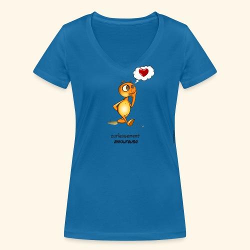 T-Shirt - Curieusement amoureuse - T-shirt bio col V Stanley & Stella Femme