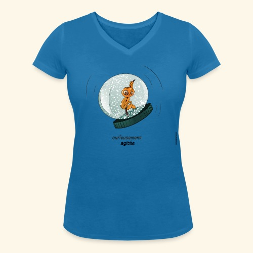 T-shirt - Curieusement agitée - T-shirt bio col V Stanley & Stella Femme