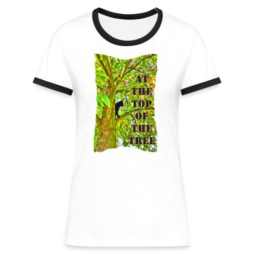 Schwarze Katze auf dem Baum - Frauen Kontrast-T-Shirt