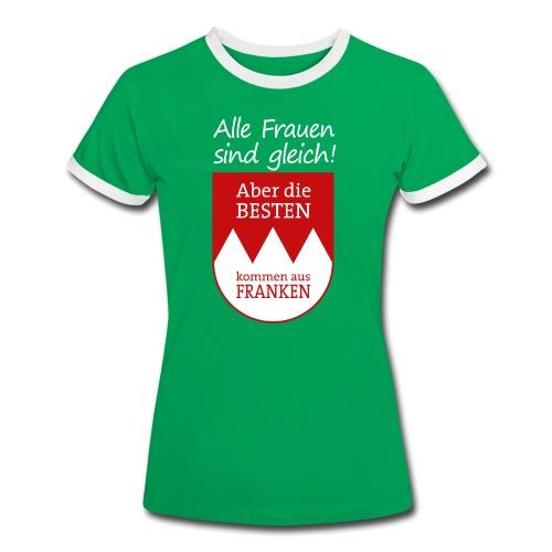 Kontrast Shirt mit Spruch und Wappen - Frauen Kontrast-T-Shirt