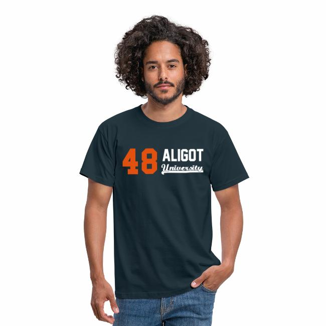 f4b26de1f1d37 Tee shirt homme 48 Aligot University - logo Bicolore - orange et blanc