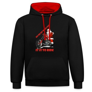 Ho Ho Ho what fun it is to ride - Contrast Colour Hoodie