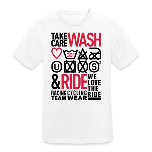WASH&RIDE • PRINT BLACK & RED • - T-shirt respirant Homme