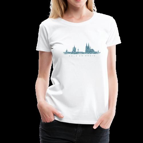 Köln am Rhein Skyline (Vintage Blau) S-3XL T-Shirt - Frauen Premium T-Shirt