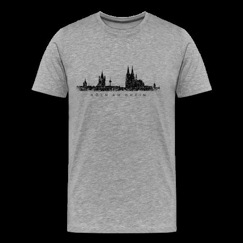 Köln am Rhein Skyline (Vintage Schwarz) S-5XL T-Shirt - Männer Premium T-Shirt