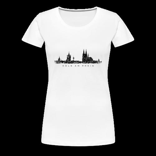 Köln am Rhein Skyline (Vintage Schwarz) S-3XL T-Shirt - Frauen Premium T-Shirt