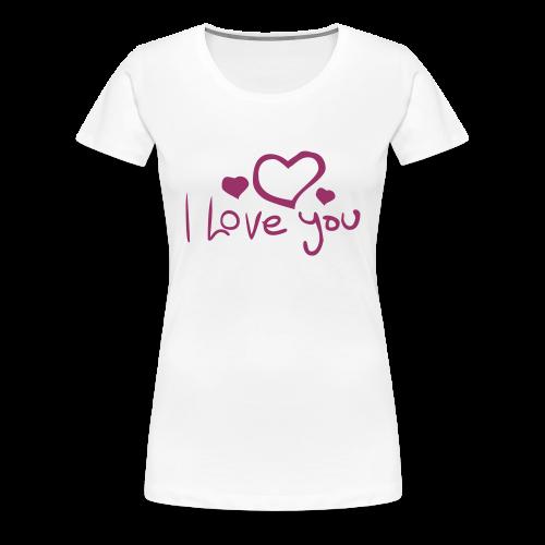 I Love You-Rot Glitzer - Frauen Premium T-Shirt