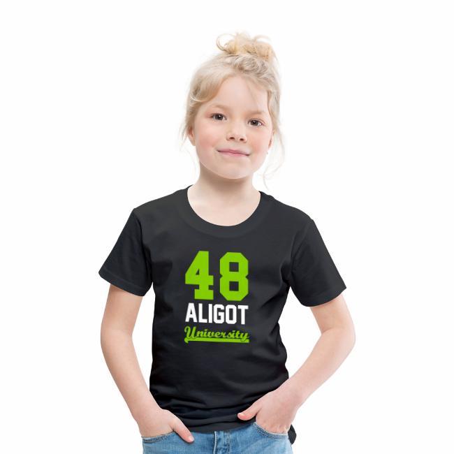 9e6380a15079e Tee shirt enfant 48 Aligot University Marquage vert pomme et blanc