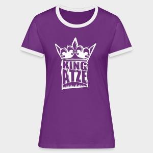 KING ATZE PURPLE WOMAN SHIRT  LOGO WHITE - Frauen Kontrast-T-Shirt