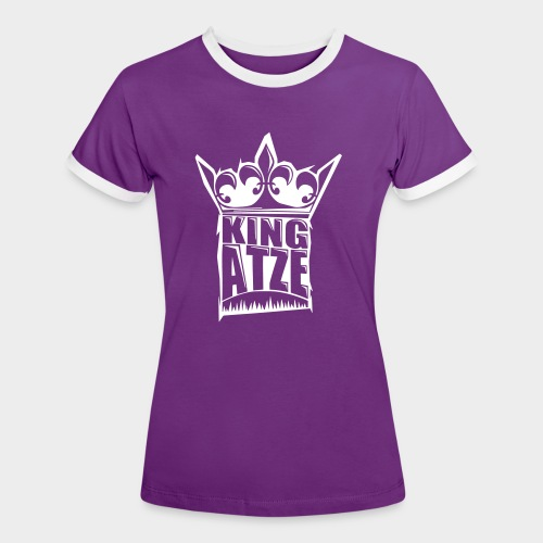 KING ATZE PURPLE WOMAN SHIRT  LOGO WHITE - Frauen Kontrast-T-Shirt