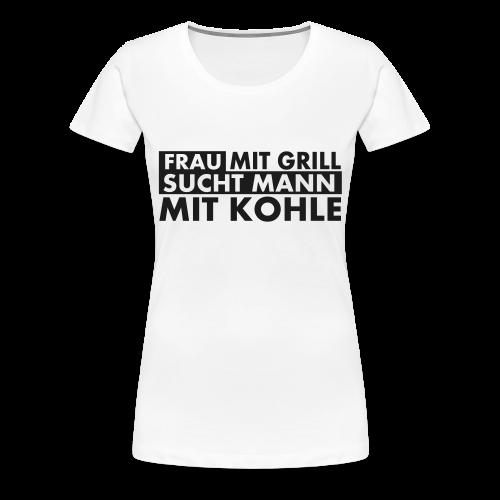 Frau mit Grill..Schwarz Glitzer - Frauen Premium T-Shirt