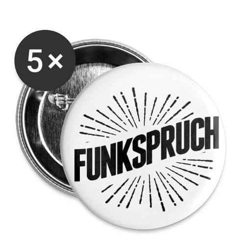 5 x Funkbutton Logo Schwarz - Buttons mittel 32 mm