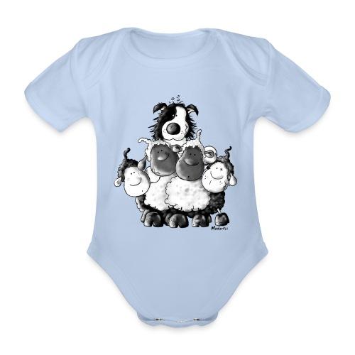 Moutons et chien Fun - Body bébé bio manches courtes