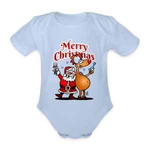 Merry Christmas Santa - Organic Short-sleeved Baby Bodysuit