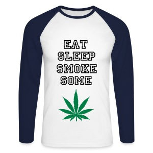 Eat Sleep Smoke Some Weed Baseballshirt - Männer Baseballshirt langarm