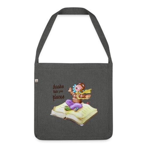 books take you places - Bandolera de material reciclado