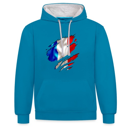 Frankreich Solidarité - Kontrast-Hoodie