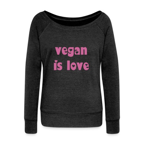 vegan is love - Felpa con scollo a barca da donna, marca Bella