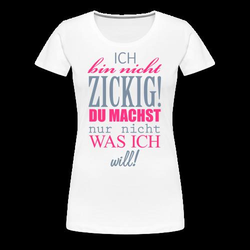 Zickig...Silbermetallic/Neonpink - Frauen Premium T-Shirt