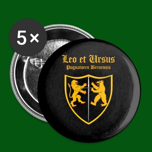Leo et Ursus Button schwarz - Buttons groß 56 mm (5er Pack)