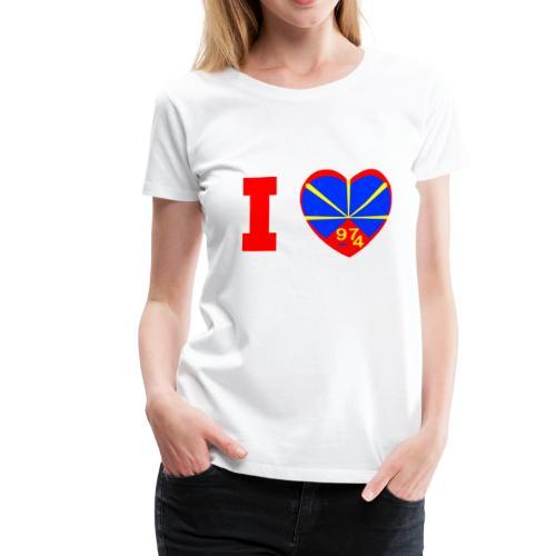 Tee shirt Premium Femme I love 974 - Lo Mahaveli - T-shirt Premium Femme