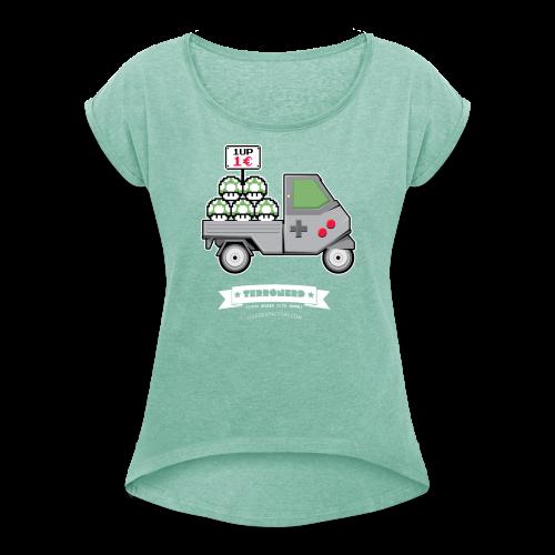 TERRONERD 1UP girl - Maglietta da donna con risvolti