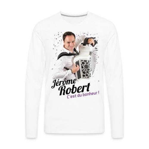 T-Shirt Blanc Manches longues - Homme - Jérôme Robert - T-shirt manches longues Premium Homme