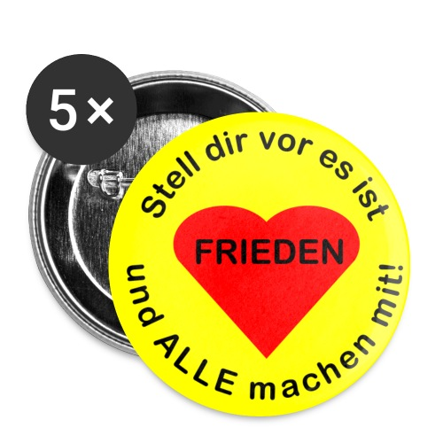 Welt-Frieden - peace all over the world - Buttons mittel 32 mm